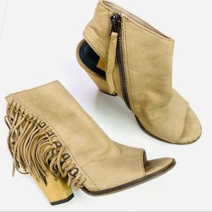 Dolce Vita Noralee Fringe Booties Taupe 7.5
